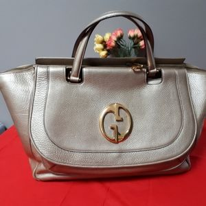 Gucci GG 1973 gold Metallic leather bag L